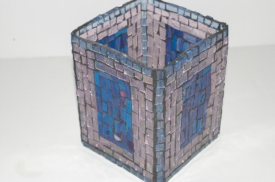 "MBA #S31-122   ""Hand Made Pale Pink & Blue Stained Glass Square Mosiac Candle Holder"""