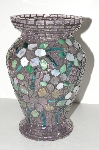 "MBA #S31-126   ""Large Hand Made Multi Colored Stained Glass Floral Vase"""