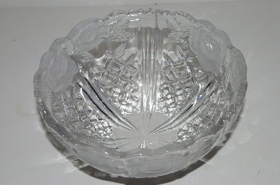 "**MBA #S31-260   ""Older Anna Hutte Crystal Large Rose Fruit Bowl"""