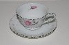 "**MBA #S18-107  12 Piece     ""Charmaine By Sango Pink Roses & Platinum Trim Tea Cup & Saucer Set"""