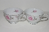 "**MBA #S18-111   ""Charmaine By Sango Pink Roses & Platinum Trim Set Of 2 Tea Cups"""