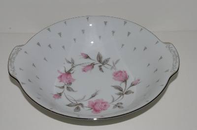 "+MBA #S18-124     ""Charmaine By Sango Pink Roses & Platinum Trime Round Vegetable Serving Bowl"""