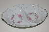 "**MBA #S18-127     ""Charmaine By Sango Pink Roses & Platinum Trim Oval Divided Vegetable Serving Bowl"""