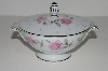 "**MBA #S18-140     ""Charmine By Sago Pink Roses & Platinum Trim Sugar Bowl With Lid"""
