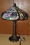 "+MBA #S19-009   ""2003  Beautiful Pink & Purple Rose Stained Glass Table Lamp"""