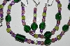 "MBA #B1-165 ""Green & Lavender Glass Bead Necklace & Earring Set"""