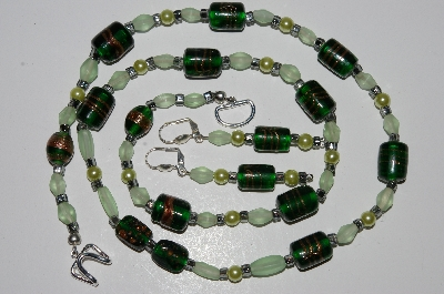 "MBA #B1-159  ""Fancy Dark Green Lampworked Glass Bead Necklace & Earring Set"""
