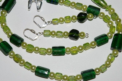 "MBA #B1-147   ""Green Glass Lampworked Bead & Pearl Necklace & Earring Set"""