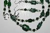 "MBA #B1-144  ""Green Glass, Crystal & Hemalyke Bead Necklace & Earring Set"""