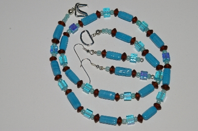 "MBA #B1-138  ""Turquoise, Brown & Blue Glass Bead Necklace & Earring Set"""