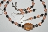 "MBA #B1-141  ""Fancy Pink Glass Bead & Hemalyke Necklace & Earring Set"""