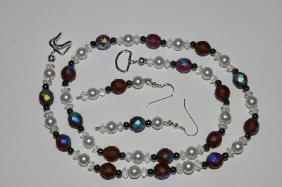 "MBA #B1-135  ""Brown, Clear, White & Hemalyke Bead Necklace & Earring Set"""
