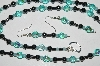"MBA #B1-132   ""Blue AB Crystal & Hemalyke Bead Necklace & Earring Set"""