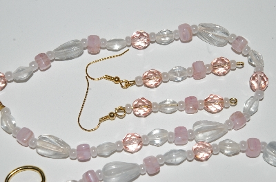 "MBA #B1-096   ""Pink Crystal & Clear Glass Bead Necklace & Earring Set"""