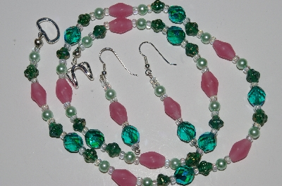 "MBA #B1-129   ""Green & Pink Glass Bead & Crystal Necklace & Earring Set"""