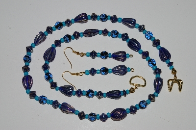 "MBA #B1-123  ""Blue Glass Bead Necklace & Earring Set"""