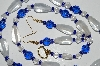 "MBA #b1-117   ""Blue & Clear Glass Bead Necklace & Earring Set"""