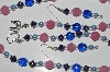 "MBA #B1-114   ""Blue Pearl, Blue & Pink Glass Bead Necklace & Earring Set"""