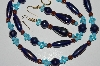 "MBA #B1-111   ""Fancy Blue & Copper Colored Glass Bead Necklace & Earring Set"""