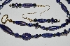 "MBA #B1-108   ""Fancy Translucent Dark Blue Glass Bead & Hemalyke Bead Necklace & Earring Set"""