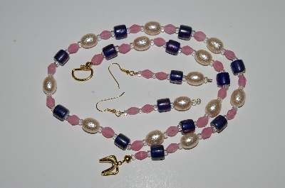 "MBA #B1-105   ""Blue & Pink Glass Bead & Yellow Pearl Necklace & Earring Set"""