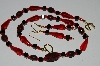 "MBA #B1-047   ""Fancy Red & Black Glass Bead Necklace & Earrings Set"""