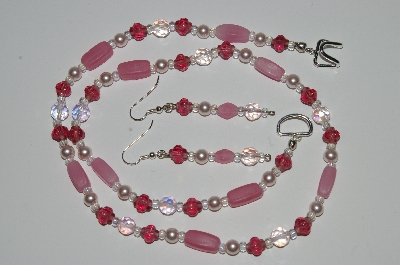 "MBA #B1-102   ""Pink Bead, Crystal & White Pearl Necklace & Earrings Set"""