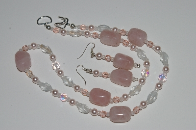 "MBA #B1-028  ""Rose Quartz, Pink Crystal, Clear Glass Bead & Pearl Necklace & Earring Set"""