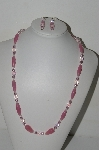 "MBA #B1-04  ""Pink Milk Glass, Pink AB Crystal & Pink Pearl Necklace & Earring Set"""