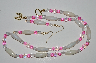 "MBA #B1-031  ""White, Pink, Clear & PInk AB Crystal Bead Necklace & Earring Set"""
