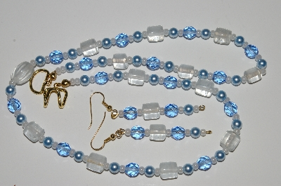 "MBA #B1-099  ""Clear Blue Glass Bead & Pearl Necklace & Earring Set"""