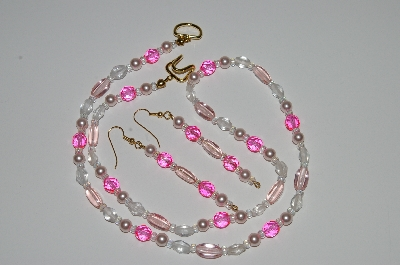 "MBA #B1-050  ""Pink , Clear Glass Bead & Pearl Necklace & Earring Set"""