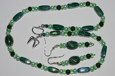 "MBA #B1-093  ""Green Glass, Crystal & Glass Pearl Necklace & Earring Set"""