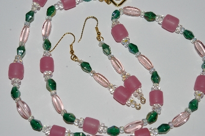 "MBA #B1-056   ""Pink, Green Glass & Crystal Bead Necklace & Earring Set"""
