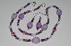 "MBA #B1-016   ""Purple Gemstone & Glass Bead Necklace & Earring Set"""
