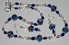 "MBA #B1-033  ""Fancy Art Glass Blue Bead & Pearl Necklace & Earring Set"""