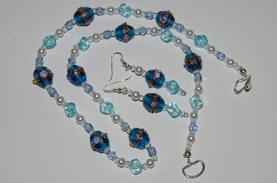 "MBA #B1-019  ""Fancy Art Glass Blue Bead & Pearl Necklace & Earring Set"""