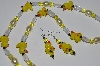 """SOLD""     MBA #B1-022  ""Fancy Yellow & Clear Glass Bead Duckie Necklace & Earring Set"""
