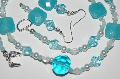 "MBA #B1-066  ""Fancy Blue Gemstone, Clear Glass & Pearl Bead Necklace & Earring Set"""