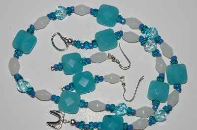 "MBA #B1-062  ""Blue Gemstone, White & Blue Glass Bead Necklace & Earring Set"""
