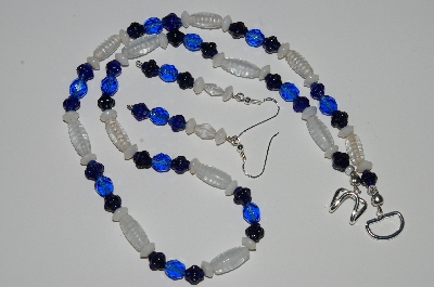 "MBA #B1-084   ""Blue, Clear & White Glass Bead Necklace & Earring Set"""