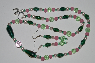 "MBA #B1-072  ""Pink, Green Glass Bead & Pearl Necklace & Earring Set"""