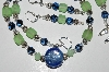 "MBA #B2-090  ""Pale Green, Blue & Rose Sterling Bead Necklace & Earring Set"""
