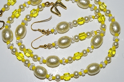 MBA #B2-075    Fancy Yellow Glass Pearl & Bead Necklace & Earring Set""