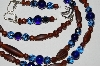 "MBA #B2-072  ""Matte Brown, Blue & Copper Colored Glass bead Necklace & Matching Earring Set"""