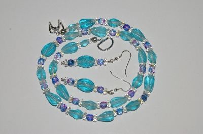 "MBA #B2-060  ""Aqua Blue Glass Bead & Crystal Necklace & Earring Set"""