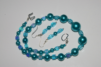 "MBA #B2-057  ""Vintage Blue Glass Pearls & Bead Necklace & Earring Set"""