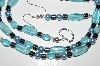 "MBA #B2-063  ""Aqua Blue Glass Beads, Pearls & Hemalyke Bead Necklace & Earring Set"""