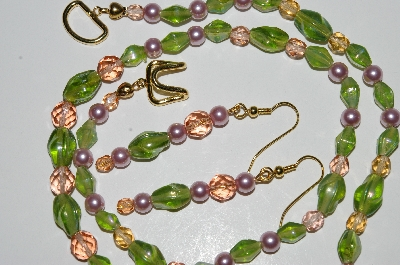 "MBA #B2-048  ""Pink Crystal, Pink Pearl & Green Glass Bead Necklace & Earring Set"""