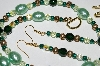 "MBA #B2-039  ""Green Crystal, Glass Bead & Pearl Necklace & Earring Set"""